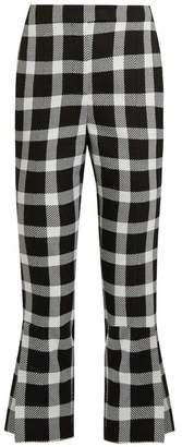 Christopher Kane Checked Wool Blend Cropped Trousers - Womens - Black White