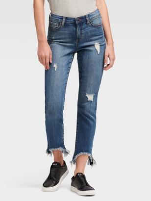 DKNY High-Rise Straight Ankle Jean - Shark Hem