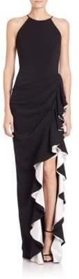Badgley Mischka Halter Contrast Ruffle Gown