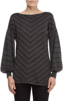 Vince Camuto Grey Blouson Sleeve Chevron Sweater