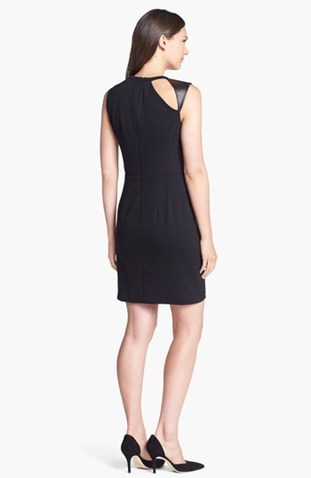 Nanette Lepore 'Asteroid' Leather Trim Fit & Flare Dress