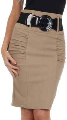 Sakkas IMShirrKneeBelti-9645 Petite High Waist Shir Stretch Pencil Skirt with Wide Belt - / 2X