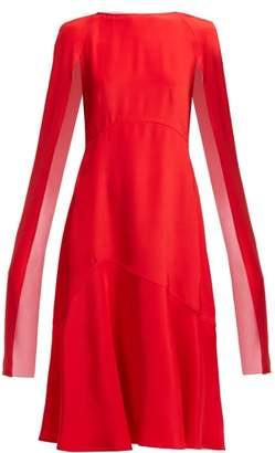 Calvin Klein Cape Sleeve Silk Cady Mini Dress - Womens - Red Multi