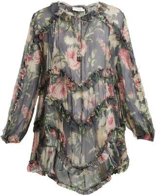 Zimmermann Iris floral-printed sheer-silk top
