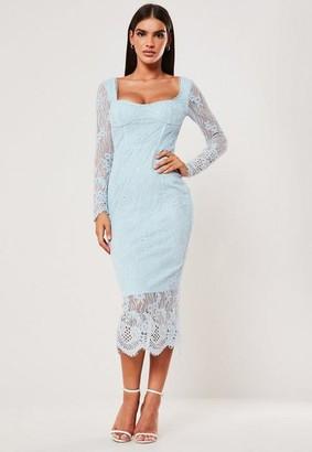 Missguided Blue Lace Long Sleeve Milkmaid Midi Dress