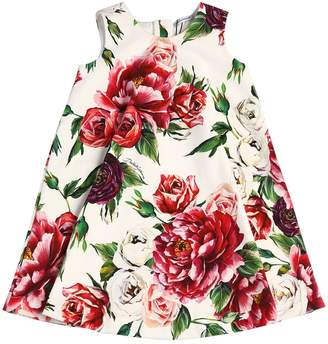 Dolce & Gabbana Rose Printed Cotton Interlock Dress