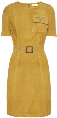Thierry Mugler Short-sleeved belted suede dress