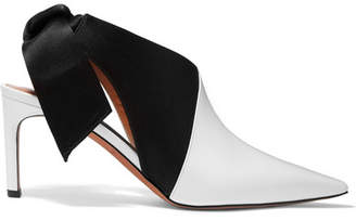 Altuzarra Patent-leather And Satin Slingback Mules - White
