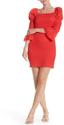 J.o.a. Smock Puff Sleeve Body-Con Minidress
