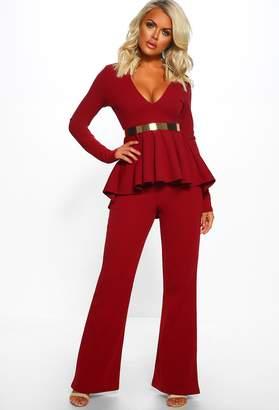 d12d4b9fd9c Pink Boutique Gold Luxe Burgundy Belted Long Sleeve Peplum Jumpsuit