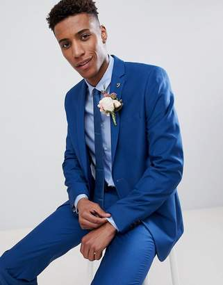 Farah Smart Skinny Wedding Suit Jacket In Blue