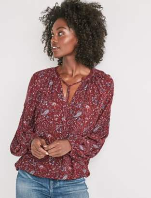 Lucky Brand PAISLEY LACE PEASANT TOP