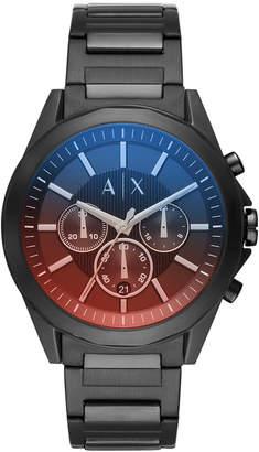 Armani Exchange Men Chronograph Black Stainless Steel Bracelet Watch 44mm