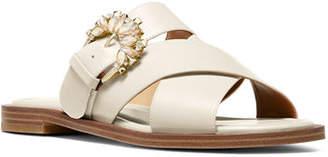 MICHAEL Michael Kors Frieda Crystal-Buckle Leather Slide Sandals