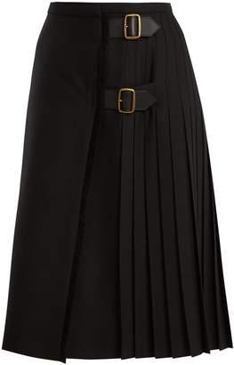 Burberry Wool-twill midi skirt