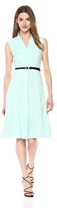 Calvin Klein Women's Solid Belted Fit and Flare Dress