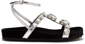 Miu Miu Crystal Embellished Velvet And Leather Sandals - Womens - Silver