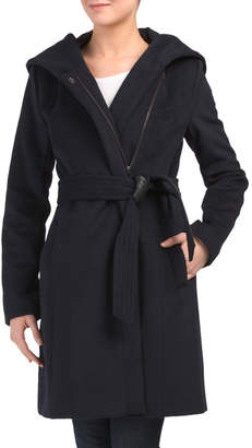 Wool Blend Wrap Coat With Faux Leather Tie