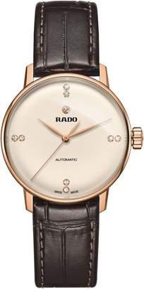 Rado Coupole Classic Diamond Leather Strap Watch, 32mm