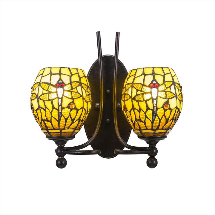 Cambridge Silversmiths Cambridge 2-Light Dark Granite Sconce with Amber Dragonfly Tiffany-Style Glass