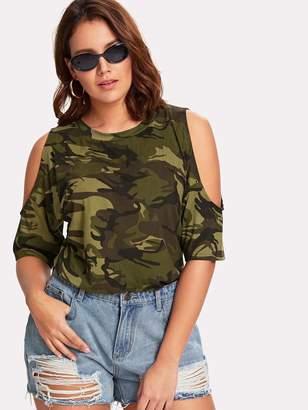 Shein Plus Open Shoulder Camouflage Top