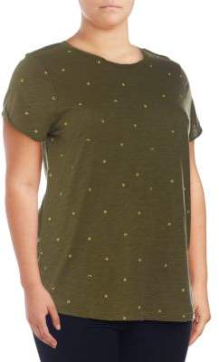 Lucky Brand Plus Embroidered Cotton Tee