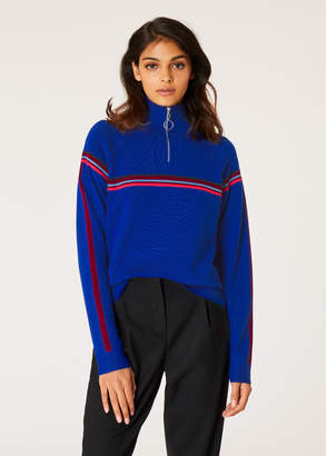 Paul Smith Women's Cobalt Blue Funnel Neck Wool Half-Zip Sweater