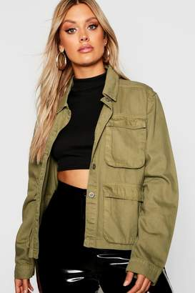 boohoo Plus Double Pocket Utility Denim Jacket