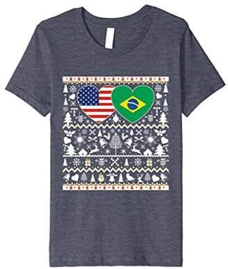 BRAZIL USA Flag Christmas T Shirt for Brazilian Americans