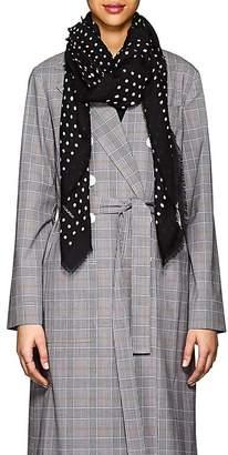 Saint Laurent Women's Dot-Print Wool Gauze Scarf