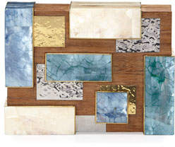 Rafe Ramya Cubist Minaudiere, Wood Multi