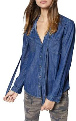 Sanctuary Tie Neck Chambray Shirt