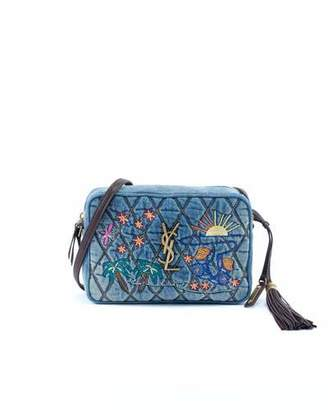 Saint Laurent Lou Monogram Quilted Embroidered Denim Crossbody Camera Bag