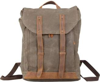 EAZO - Leather Straps Waxed Canvas Backpack Green