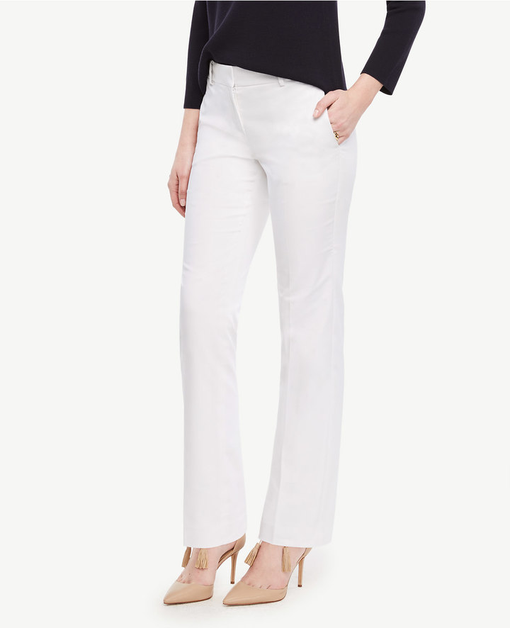 Ann Taylor The Petite Straight Leg Pant in Cotton Sateen - Devin Fit