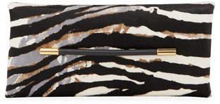 Tom Ford Ava Zebra-Print Calf Hair Clutch Bag