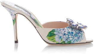 Embellished Floral-Print Mules