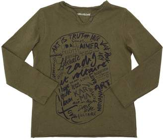 Zadig & Voltaire Skull Printed Jersey Long Sleeve T-Shirt