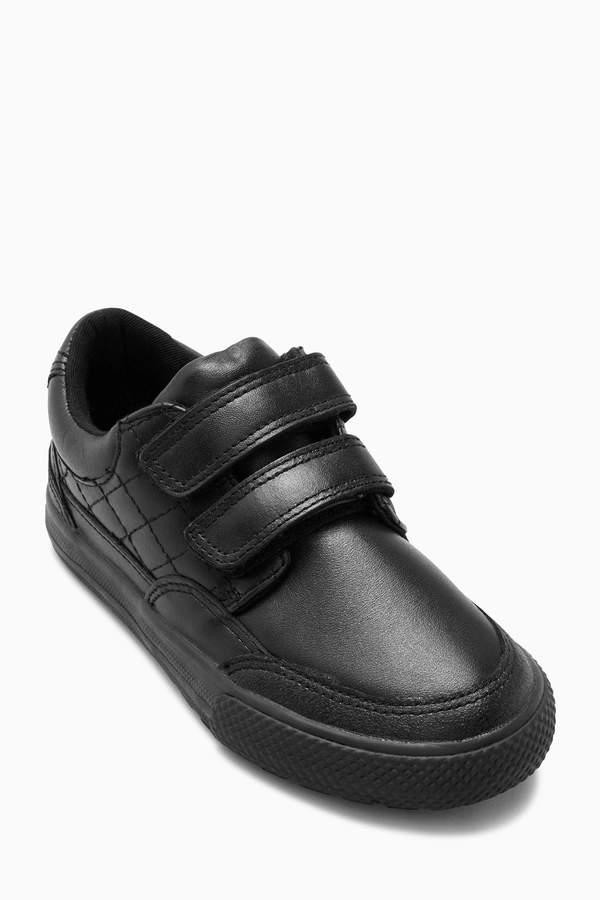 Boys Black Double Strap Leather Shoes (Older Boys) - Black