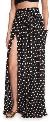 Mara Hoffman Polka-Dot Slit Maxi Skirt, Black/Cream $260 thestylecure.com