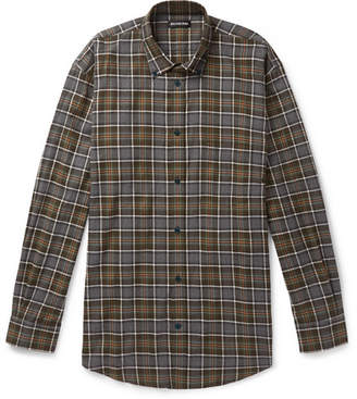 Balenciaga Oversized Logo-Print Checked Cotton-Flannel Shirt - Multi