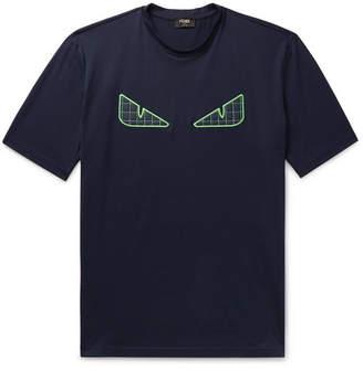Fendi Appliquéd Cotton-Jersey T-Shirt