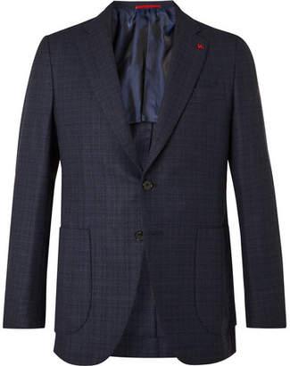 Isaia Navy Slim-Fit Checked Wool-Blend Blazer