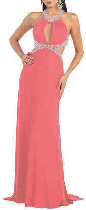 Asstd National Brand Sexy Exposed Back Halter Prom Dress