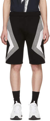 Neil Barrett Black and Grey Stripe Shorts