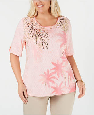 Karen Scott Plus Size Printed Sequin-Embellished Top