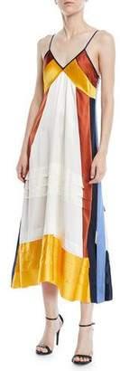 Tory Burch Sasha Colorblock Silk-Satin Slip Dress