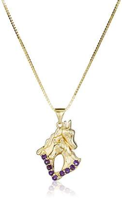18k Gold over Sterling Silver Amethyst Horse Pendant Necklace