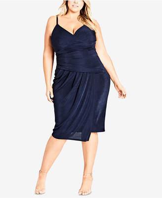 City Chic Trendy Plus Size Hide & Seek Faux-Wrap Sheath Dress