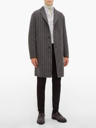 Paul Smith Striped Single Breasted Wool Blend Overcoat - Mens - Grey